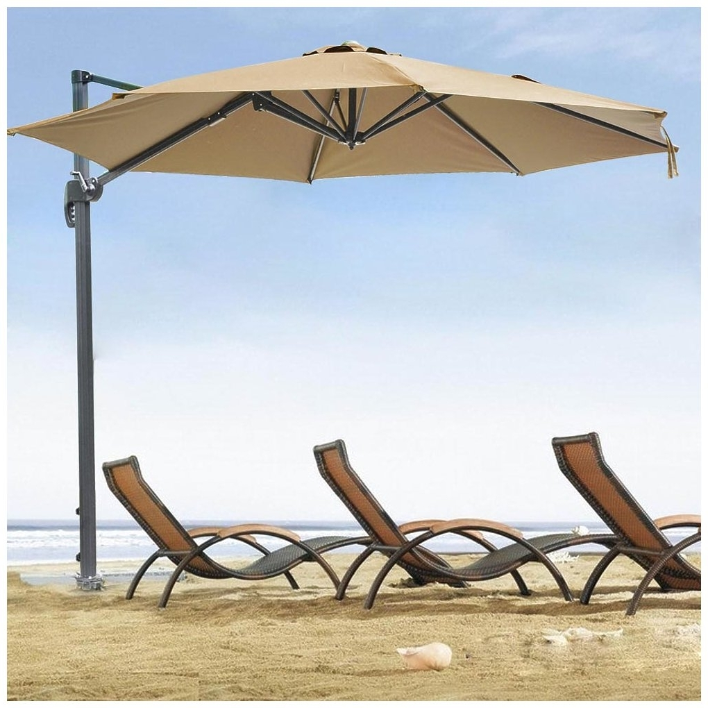 Yescom 10ft Tan Hanging Offset Roma Outdoor Patio Umbrella Shade With Well Known Yescom Patio Umbrellas (View 4 of 20)