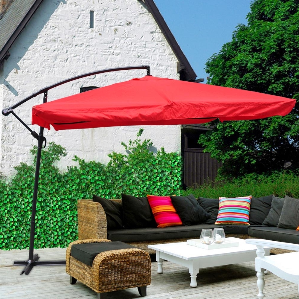 Yescom Patio Umbrellas Within Well Known Yescom 9' Red Square Outdoor Patio Hanging Offset W/ Aluminum (Gallery 6 of 20)