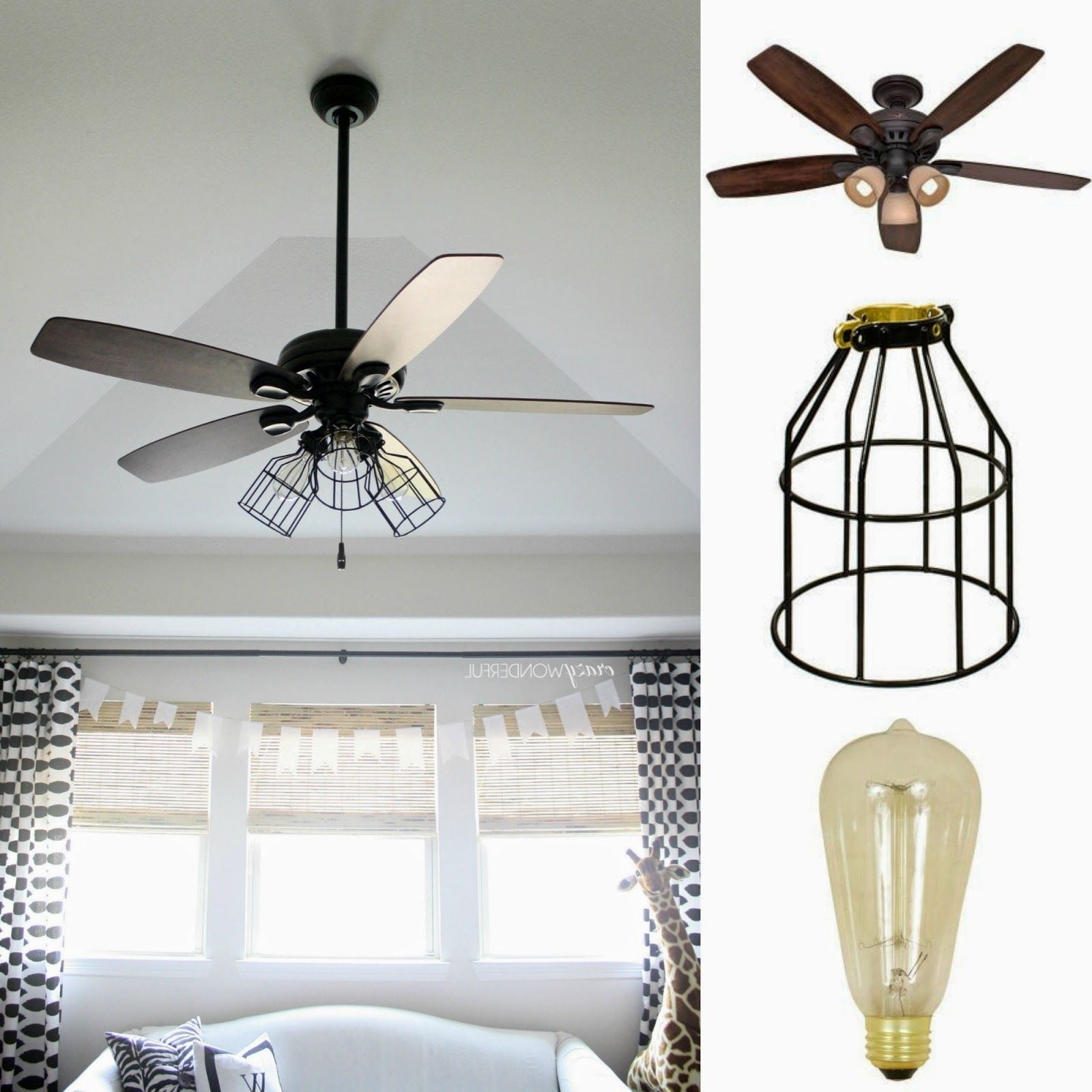 2018 Crazy Wonderful: Diy Cage Light Ceiling Fan (View 14 of 20)