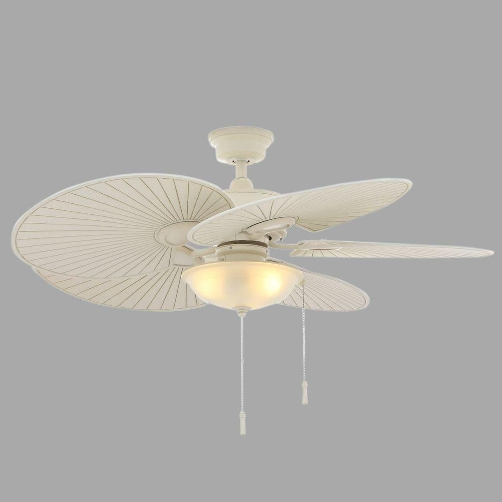 2018 Hampton Bay Havana 48 In. Indoor/outdoor Vintage White Ceiling Fan Inside Wicker Outdoor Ceiling Fans With Lights (Gallery 10 of 20)