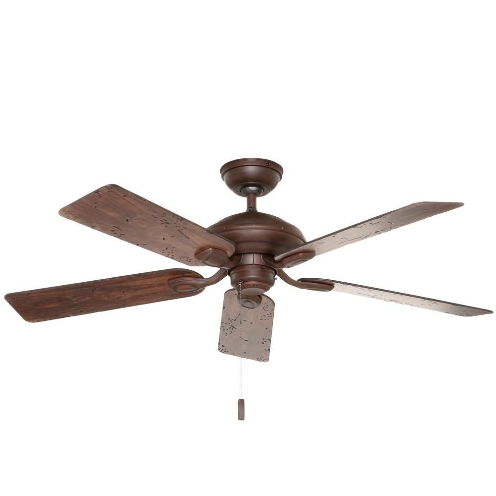 2018 Hunter Caicos 52 In. Indoor/outdoor New Bronze Wet Rated Ceiling Fan Pertaining To Outdoor Ceiling Fan With Light Under $100 (Gallery 12 of 20)