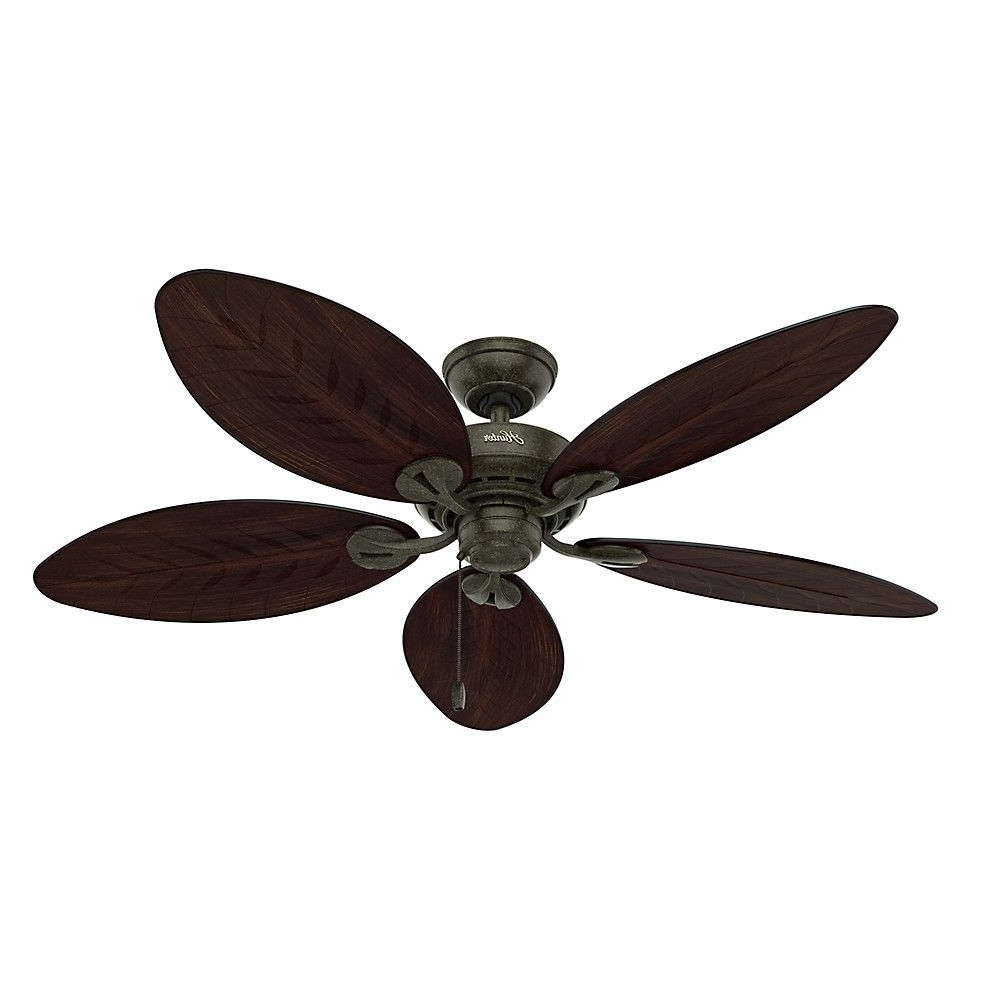 2018 Leaf Blades Outdoor Ceiling Fans In Features: Damp And Outdoor Rated. 3 Speed Pull Chain (View 15 of 20)