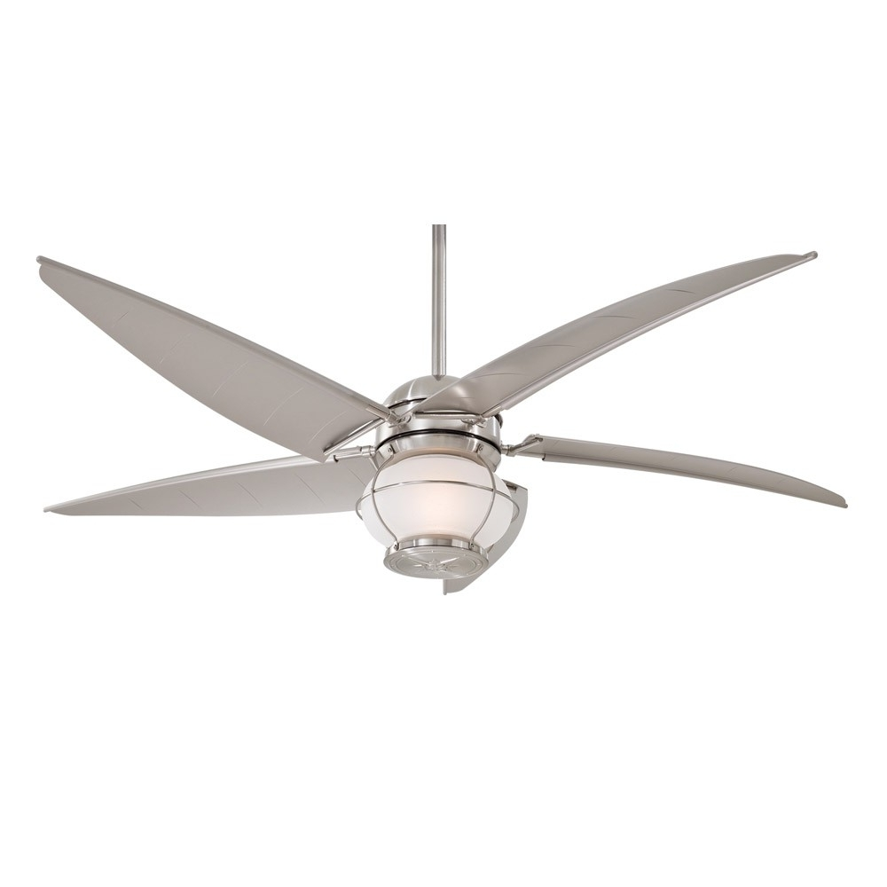 """2018 Minka Aire Magellan F579 L Bnw 60"""" Outdoor Ceiling Fan With Light With Nautical Outdoor Ceiling Fans With Lights (Gallery 1 of 20)"""