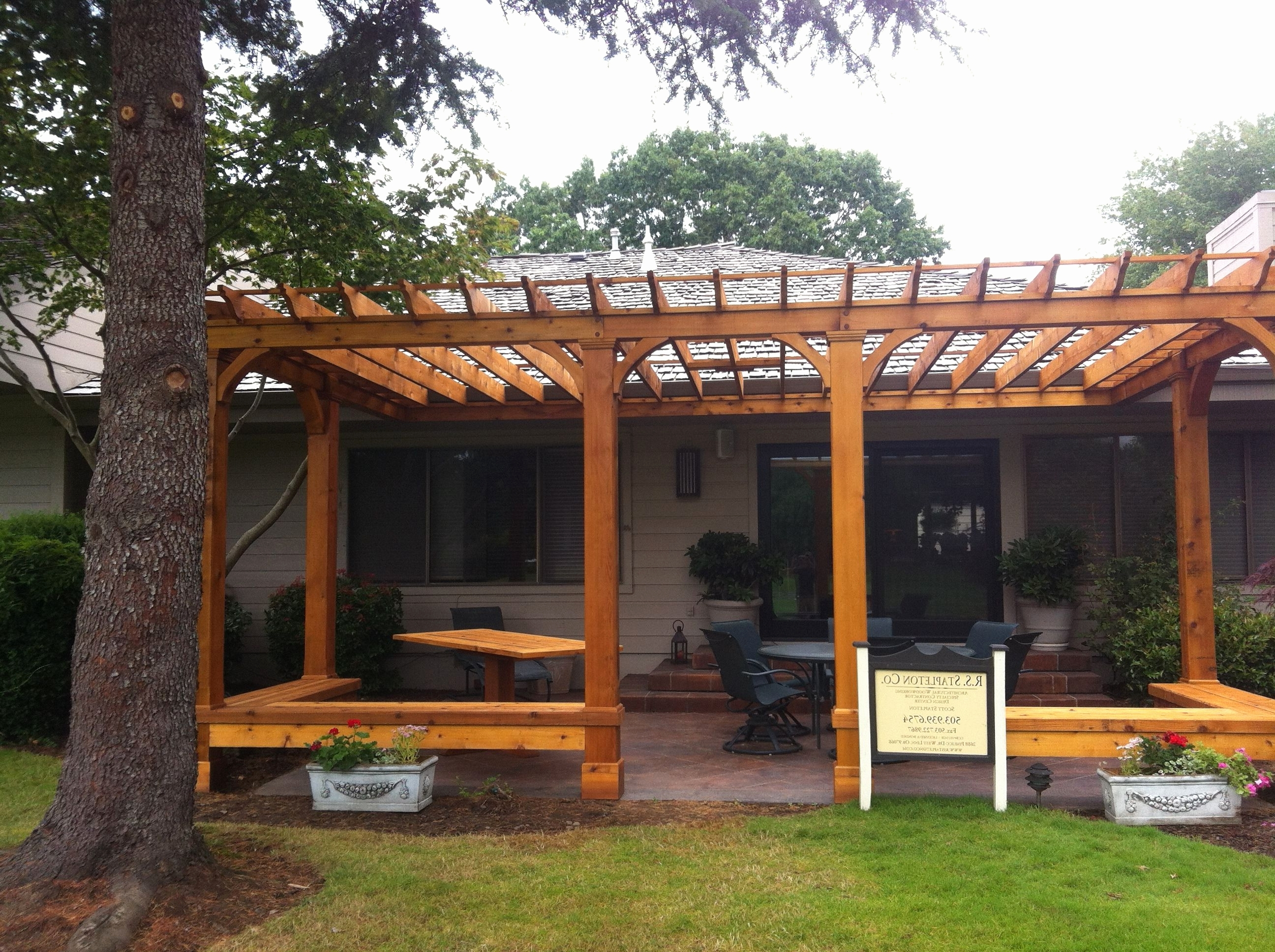 2018 Outdoor Ceiling Fan For Gazebo New Cedar Pergola With Built In Bench Pertaining To Outdoor Ceiling Fans For Pergola (Gallery 8 of 20)