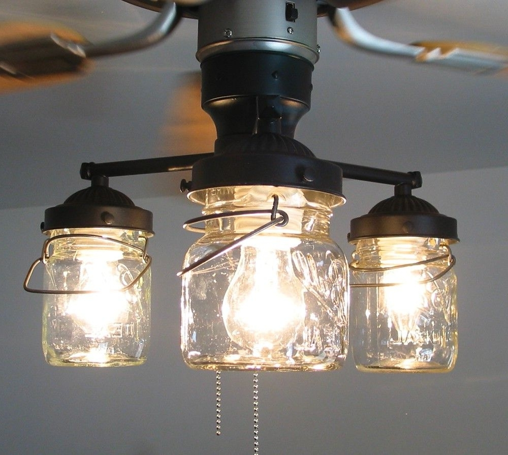 2018 Outdoor Ceiling Fans With Mason Jar Lights With Vintage Canning Jar Ceiling Fan Light Kit. $149.00, Via Etsy. (Gallery 1 of 20)