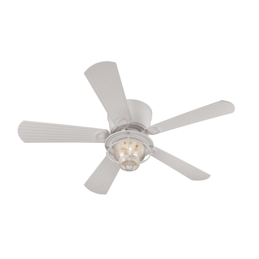 2018 Shop Harbor Breeze Merrimack 52 In White Indoor/outdoor Flush Mount In Flush Mount Outdoor Ceiling Fans (View 7 of 20)