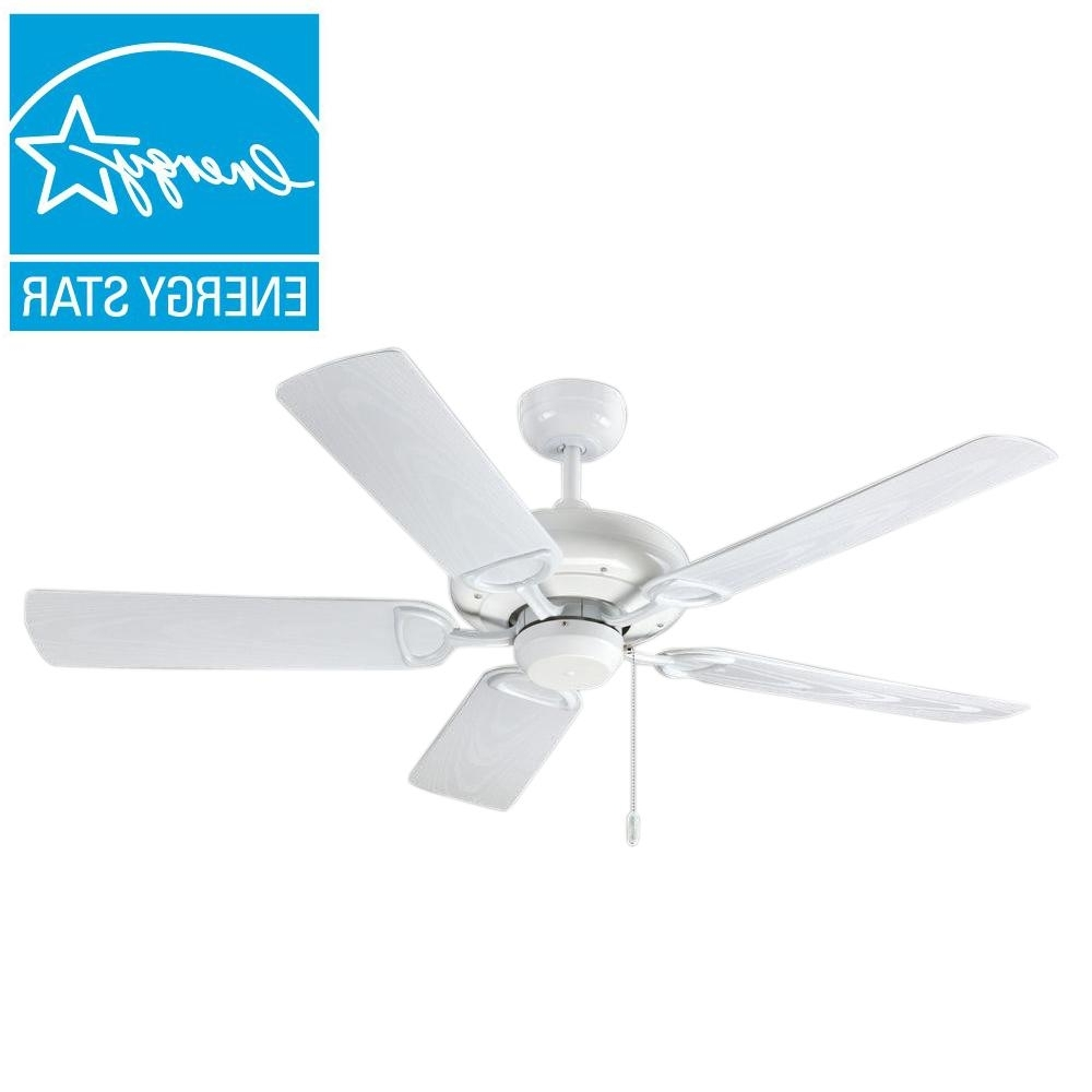 2018 Troposair Proseries Deluxe Builder 52 In. Pure White Outdoor Ceiling For White Outdoor Ceiling Fans (Gallery 4 of 20)