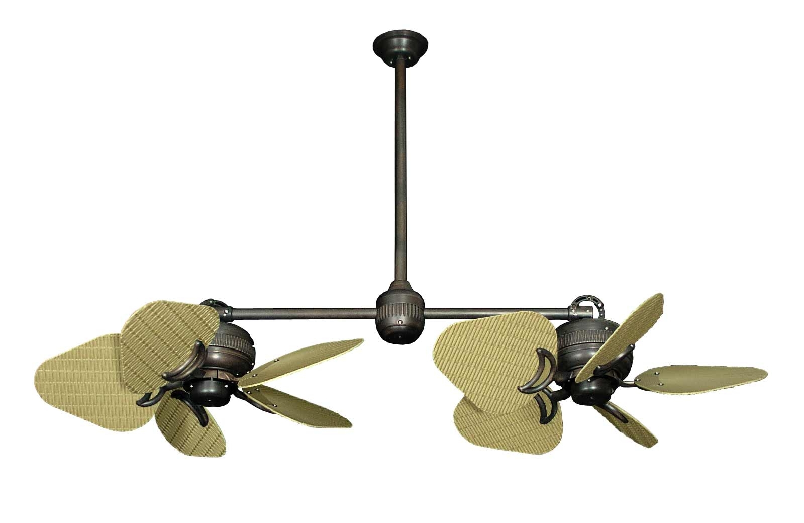 2018 Wicker Outdoor Ceiling Fans With Lights Pertaining To Dans Fan City Miami Twin Star Ii Double Ceiling Fan Abs Wicker/leaf (Gallery 8 of 20)