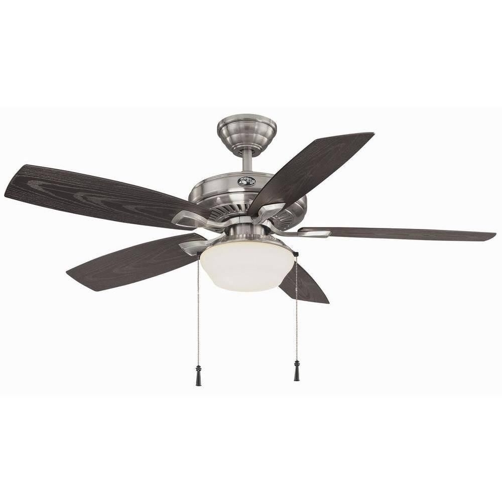 2019 Brushed Nickel Outdoor Ceiling Fans With Light In Hampton Bay Gazebo Ii 52 In Indoor/outdoor Brushed Nickel Ceiling (Gallery 14 of 20)