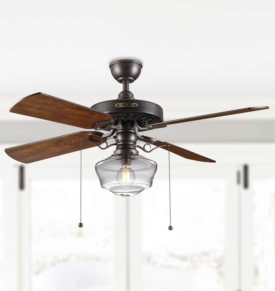 2019 Heron Ceiling Fan With Clear Ogee Shade (View 2 of 20)