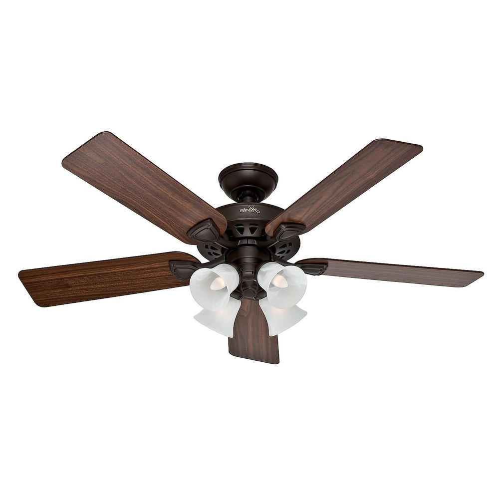 "2019 Hunter 52"" Traditional New Bronze Finish Ceiling Fan With 4 Bulb In Outdoor Ceiling Fans With Guard (View 1 of 20)"
