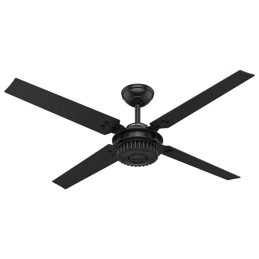 "2019 Hunter 59235 Chronicle Textured Satin Black 54"" Outdoor Ceiling Fan With Black Outdoor Ceiling Fans (Gallery 18 of 20)"