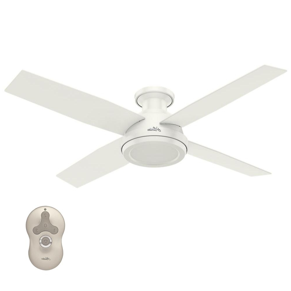 2019 Hunter Dempsey 52 In. Low Profile No Light Indoor Fresh White With Hunter Outdoor Ceiling Fans With White Lights (Gallery 18 of 20)