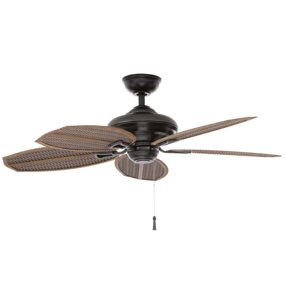 2019 Outdoor Ceiling Fans With Pull Chain Regarding Wicker Ceiling Fan 48 In. Indoor/outdoor Natural Iron Pull Chain (Gallery 7 of 20)