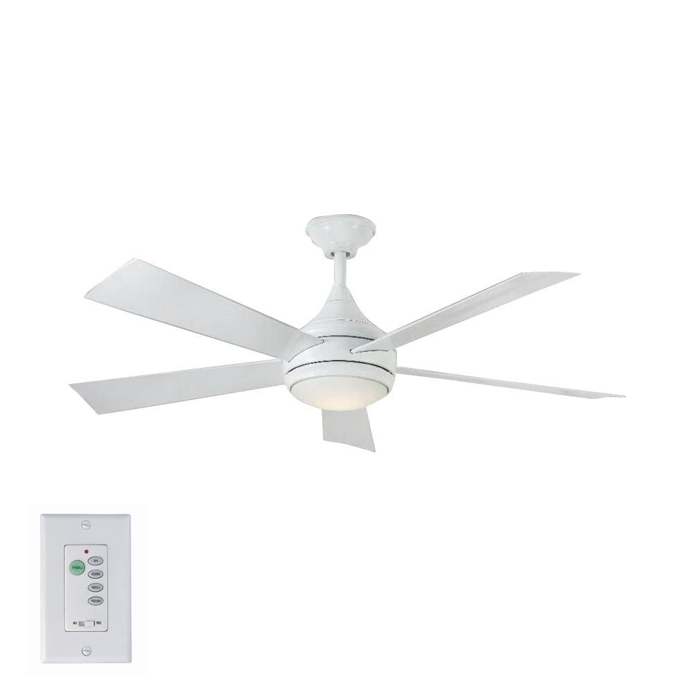 2019 Stainless Steel Outdoor Ceiling Fans With Light Pertaining To Home Decorators Collection Hanlon 52 In. Led Indoor/outdoor (Gallery 6 of 20)