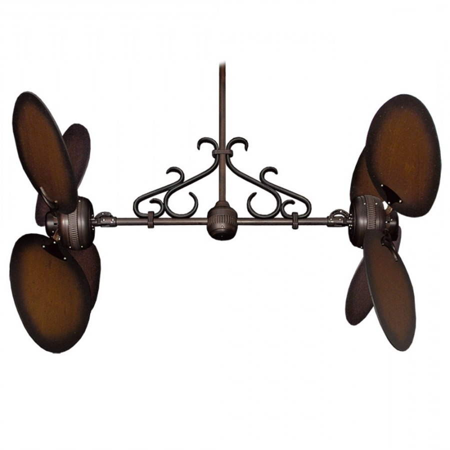 2019 Twin Star Iii Double Ceiling Fan – Oiled Bronze With 13 Blade Options Within Unique Outdoor Ceiling Fans (View 1 of 20)