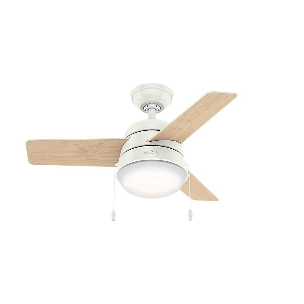 36 Inch Outdoor Ceiling Fans For 2019 Shop Hunter Fan Aker Fresh White 36 Inch Ceiling Fan With 3 Fresh (View 4 of 20)