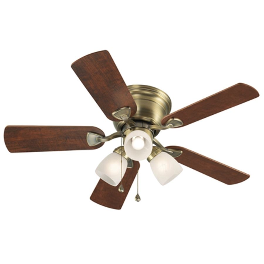 42 Outdoor Ceiling Fans With Light Kit Regarding Famous Shop Harbor Breeze Centreville 42 In Antique Brass Indoor Flush (Gallery 18 of 20)