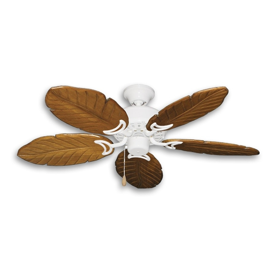 """42"""" Outdoor Tropical Ceiling Fan Pure White Finish – Treated Solid Regarding Trendy Tropical Outdoor Ceiling Fans With Lights (View 20 of 20)"""