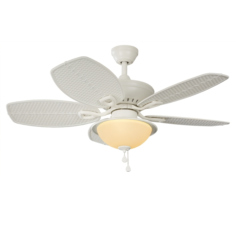 44 Inch Outdoor Ceiling Fans With Lights Within Most Up To Date Shop Harbor Breeze Cedar Shoals 44 In White Indoor/outdoor Downrod (View 11 of 20)