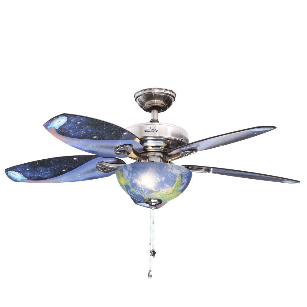 48 Outdoor Ceiling Fans With Light Kit For Most Current Hunter Discovery 48 In. Indoor Brushed Nickel Ceiling Fan With Light (Gallery 9 of 20)