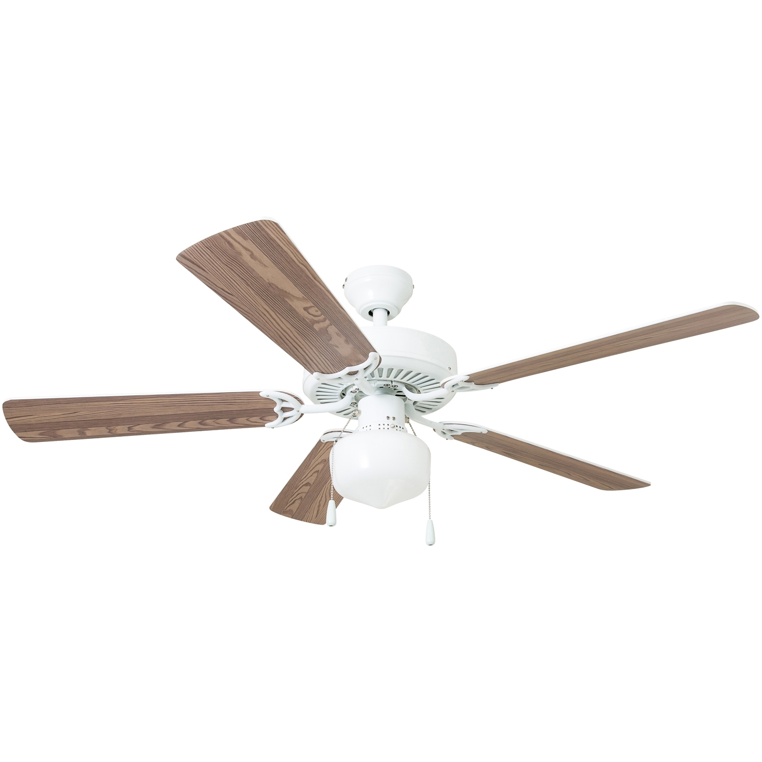 "52"" Mainstays Ceiling Fan, Globe Light, White – Walmart Inside Well Liked Outdoor Ceiling Fan With Brake (View 18 of 20)"