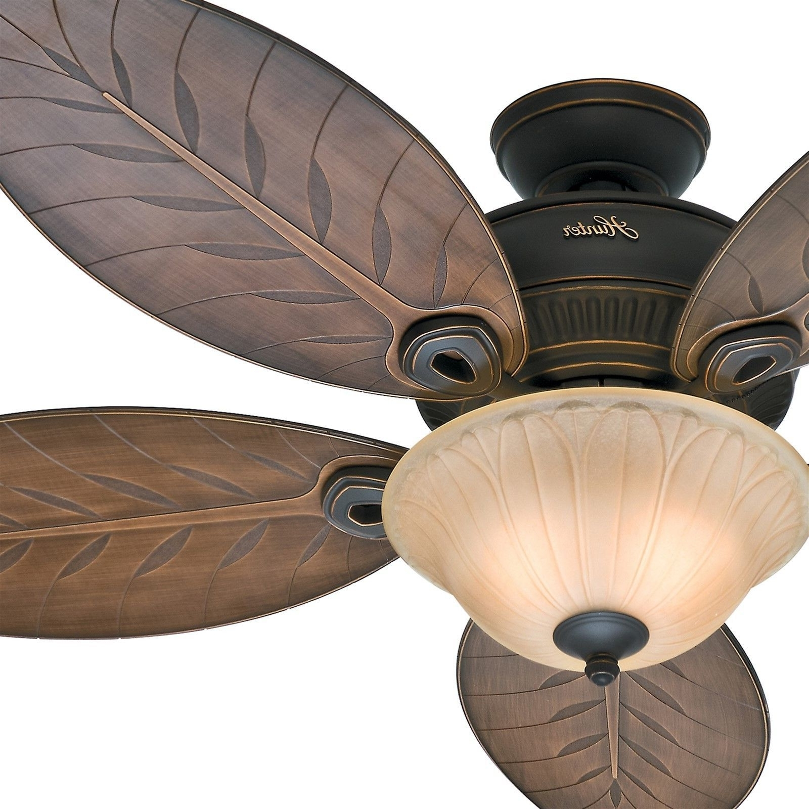 "54"" Hunter Casual Outdoor Ceiling Fan Tropical / Traditional Light For Most Current Tropical Design Outdoor Ceiling Fans (Gallery 14 of 20)"