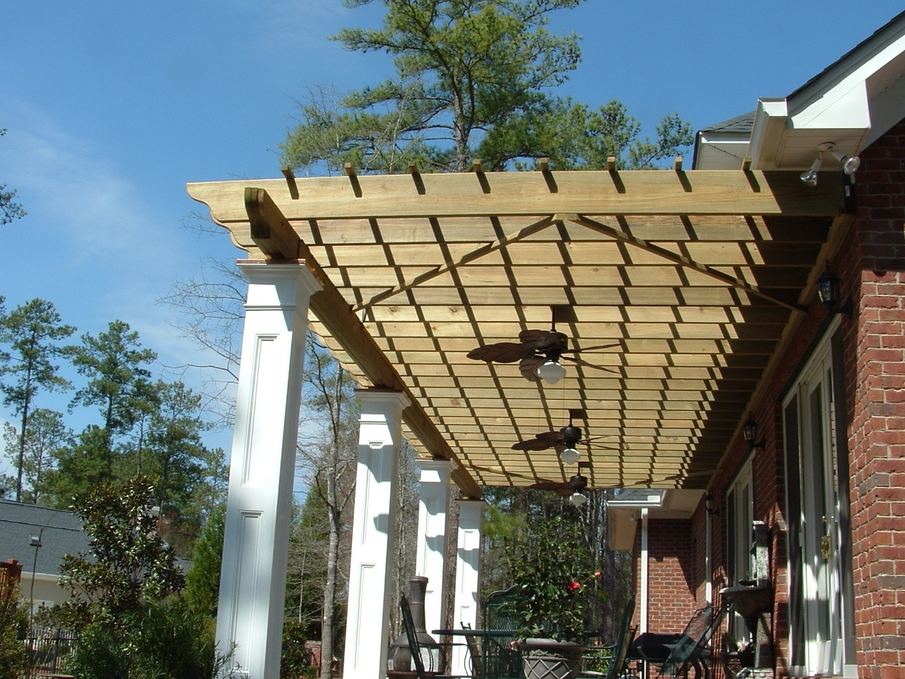Beautiful Modern Pergola Designs Features Rectangle Shape Brown In Trendy Outdoor Ceiling Fans Under Pergola (View 4 of 20)