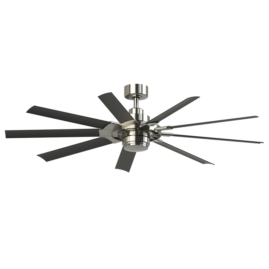 Best And Newest 72 Inch Outdoor Ceiling Fans With Light Throughout Shop Fanimation Studio Collection Slinger V2 72 In Brushed Nickel (Gallery 3 of 20)