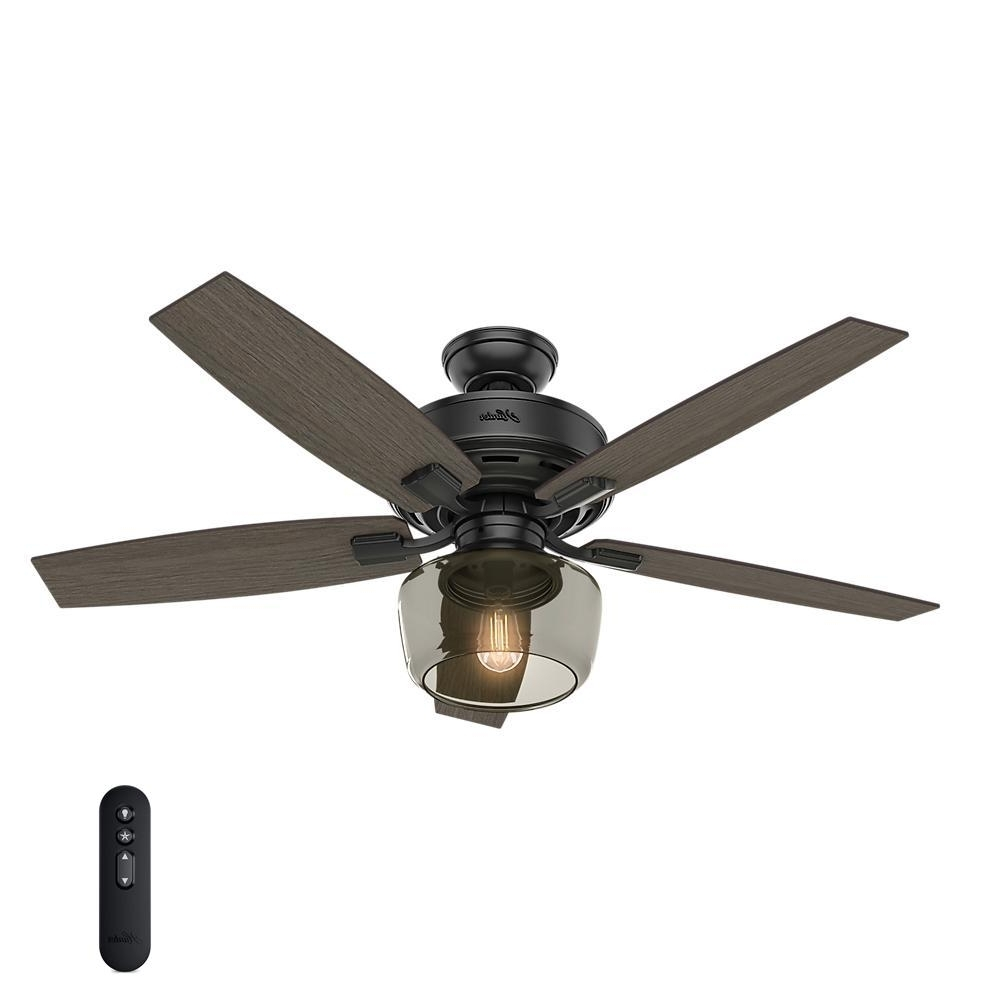 Best And Newest Hunter Bennett 52 In. Led Indoor Matte Black Ceiling Fan With Globe For Outdoor Ceiling Fans With Led Globe (Gallery 16 of 20)