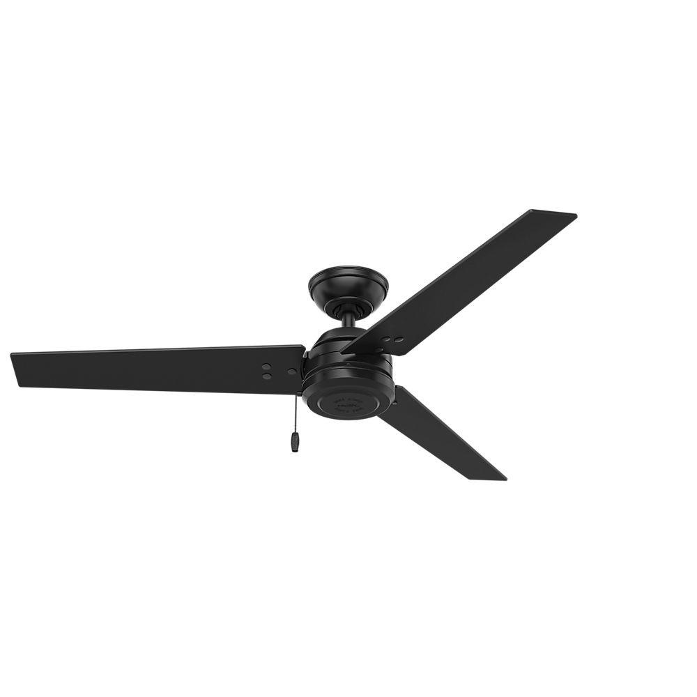 Black Outdoor Ceiling Fans Intended For Best And Newest Hunter Cassius 52 In. Indoor/outdoor Matte Black Ceiling Fan 59264 (Gallery 2 of 20)