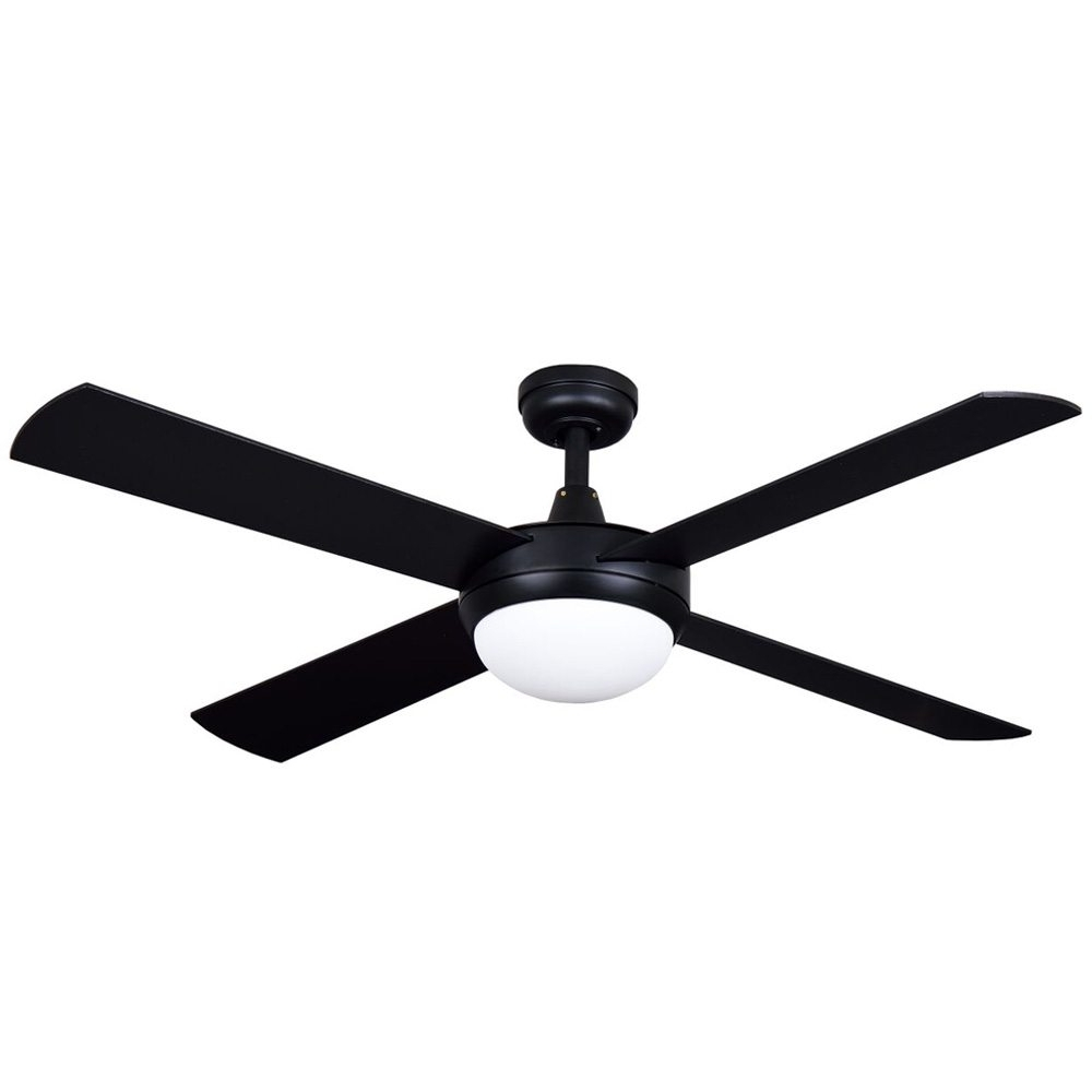 "Black Outdoor Ceiling Fans Regarding Fashionable Stratus Ceiling Fan Matt Black With Light 52"" – Eid Fans (View 9 of 20)"