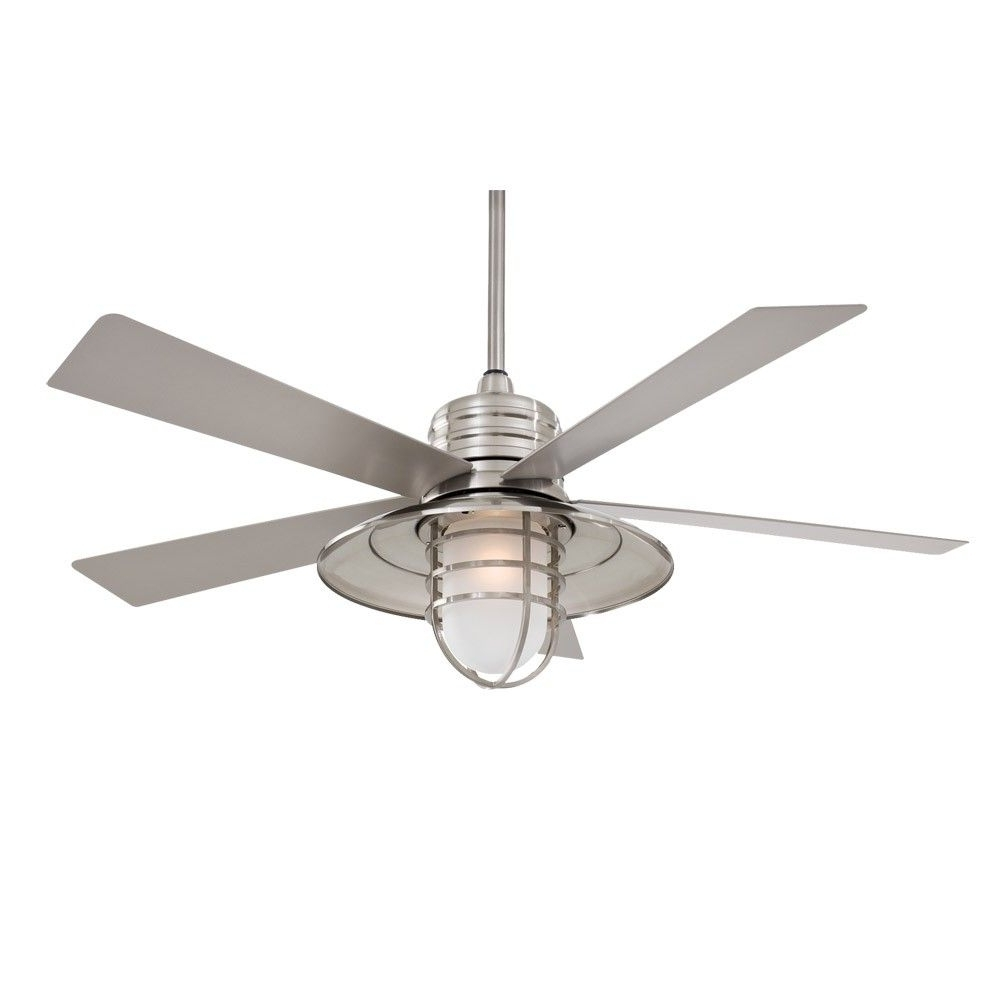 "Coastal Outdoor Ceiling Fans With Best And Newest 54"" Minka Aire Rainman Ceiling Fan – Outdoor Wet Rated – F582 Bnw (Gallery 3 of 20)"