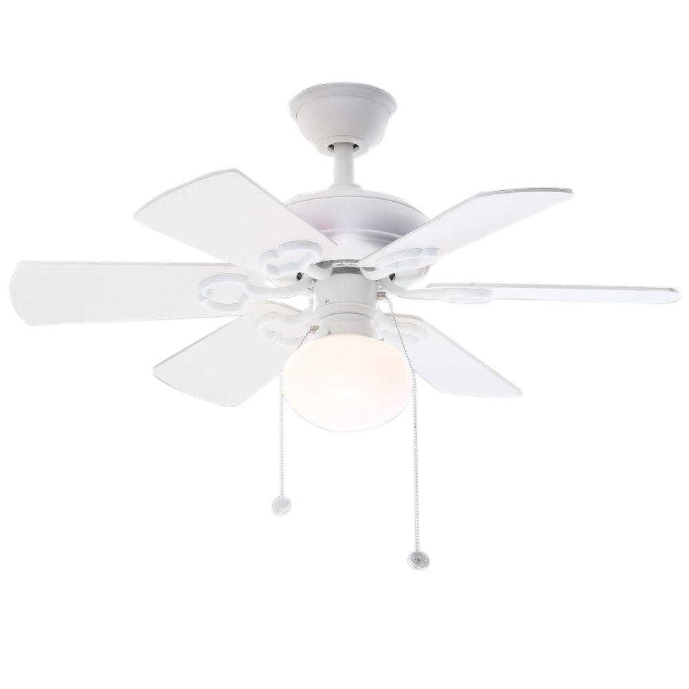 Current Hampton Bay Minuet Iii 36 In. Indoor White Ceiling Fan With Light Pertaining To 36 Inch Outdoor Ceiling Fans With Light Flush Mount (Gallery 14 of 20)
