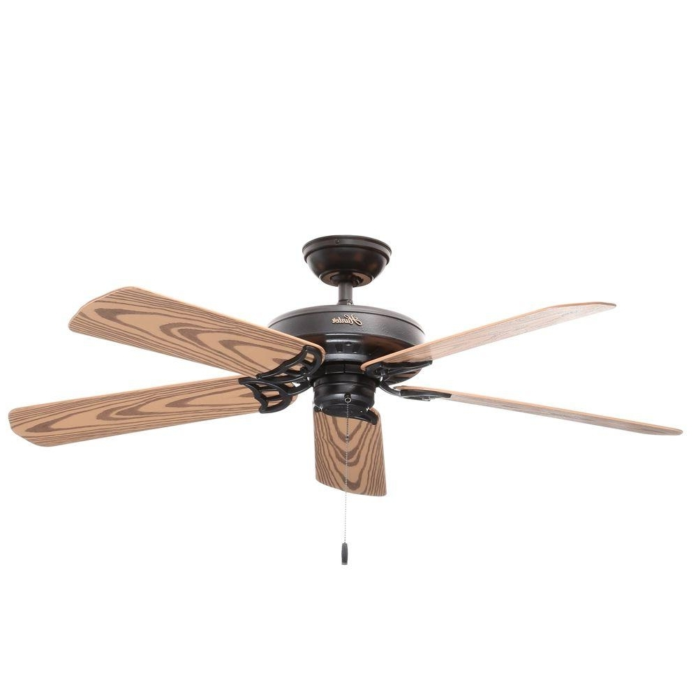 Current Hunter Bridgeport 52 In. Indoor/outdoor Black Damp Rated Ceiling Fan With Outdoor Ceiling Fans With Lights Damp Rated (Gallery 5 of 20)