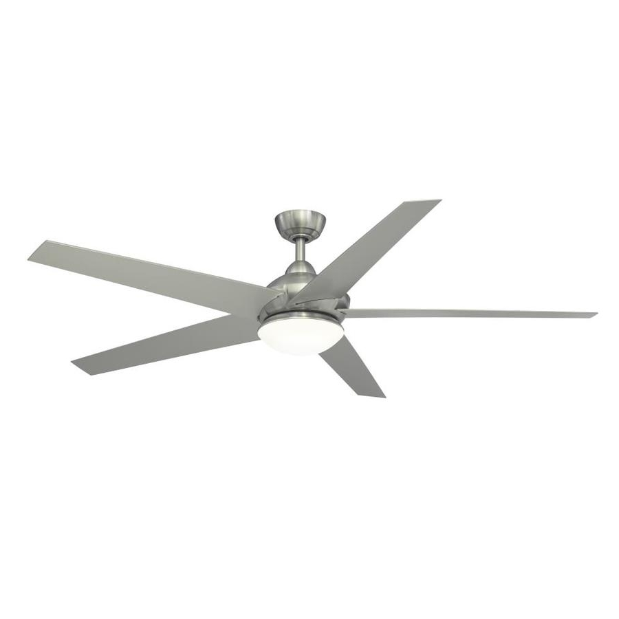 Current Shop Fanimation Studio Collection Covert 64 In Brushed Nickel Indoor Intended For Energy Star Outdoor Ceiling Fans With Light (View 1 of 20)