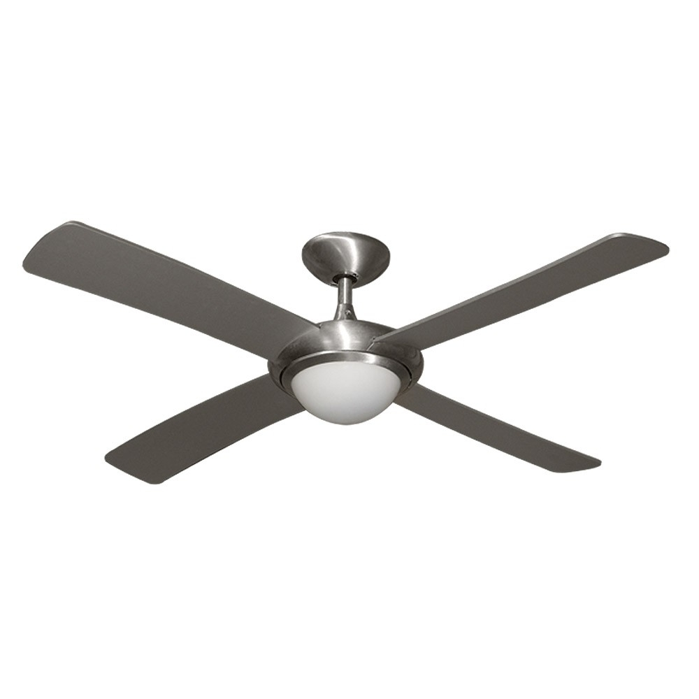 "Damp Rated Outdoor Ceiling Fans Regarding Well Known Gulf Coast Luna Fan – 52"" Modern Outdoor Ceiling Fan – Brushed (View 2 of 20)"