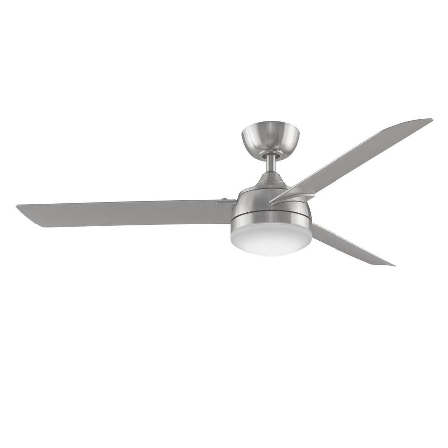 Energy Star Outdoor Ceiling Fans With Light Intended For Most Popular Shop Fanimation Xeno 56 In Brushed Nickel Led Indoor/outdoor Downrod (View 14 of 20)