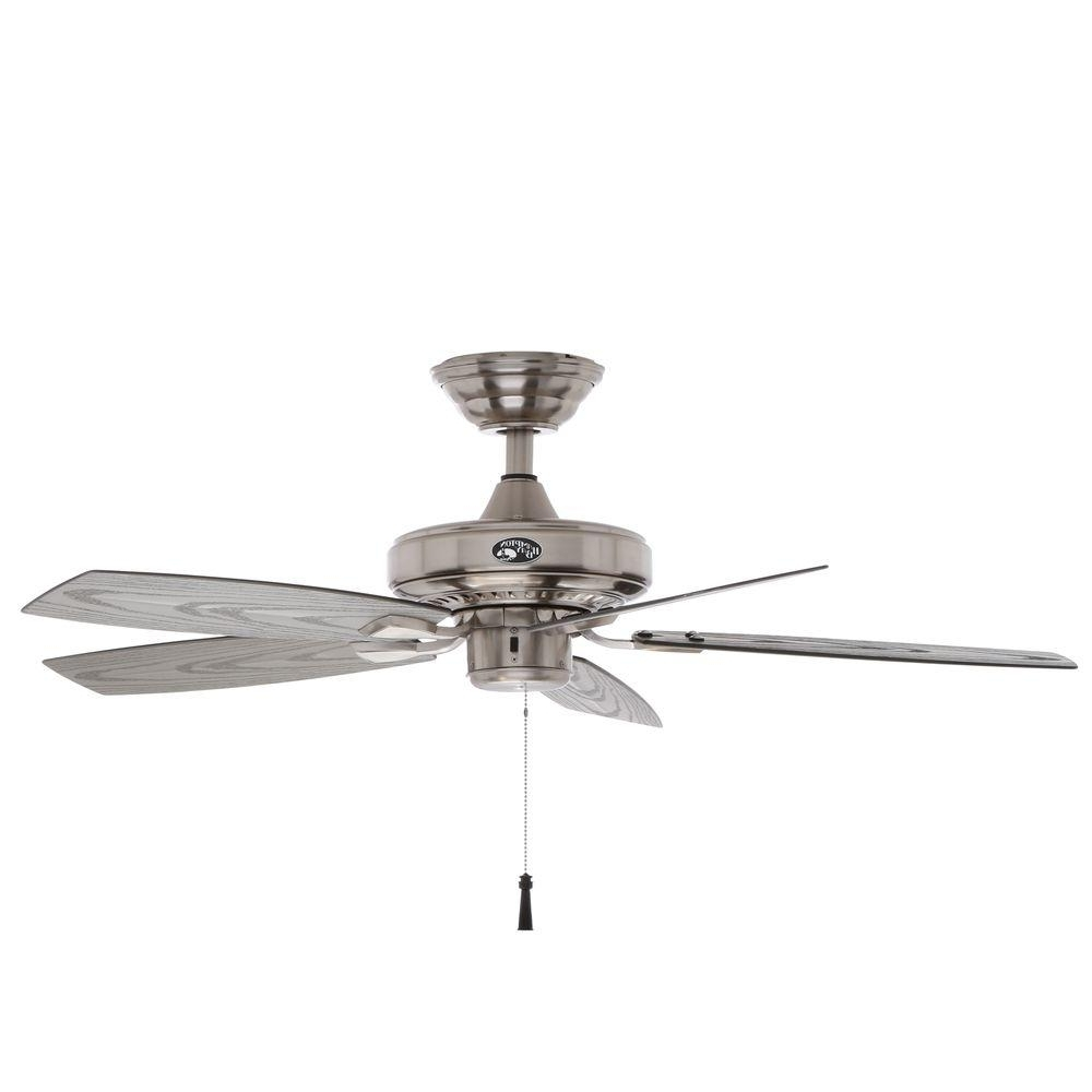 Exterior Ceiling Fans With Lights In Most Recently Released Hampton Bay Gazebo Ii 42 In. Indoor/outdoor Brushed Nickel Ceiling (Gallery 6 of 20)
