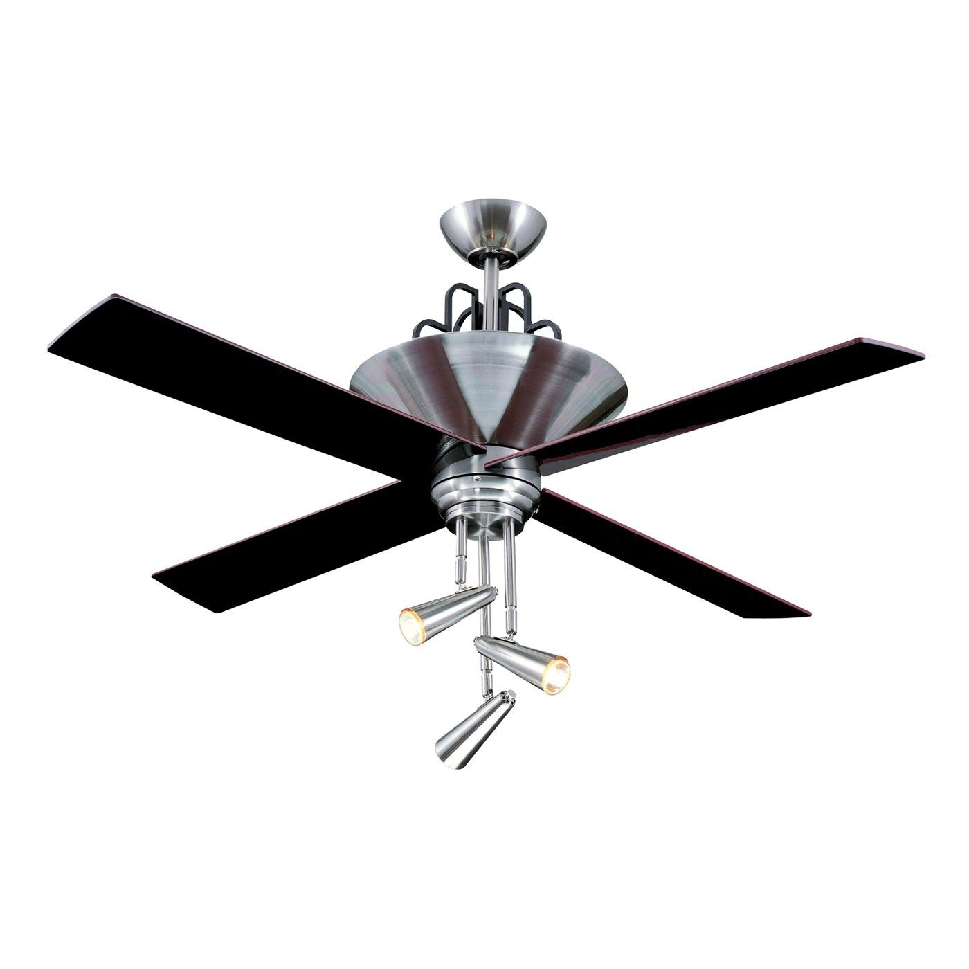 Famous Ellington Outdoor Ceiling Fans Within Ellington Fans E Gal52Bc4Gr 3 Light Galileo Ceiling Fan, Black (View 7 of 20)