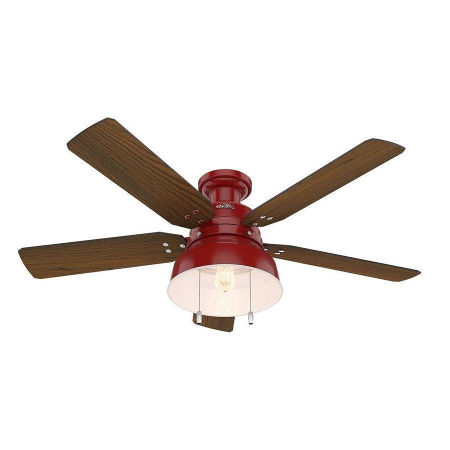 Famous Flush Mount Outdoor Ceiling Fans Inside Shop Hunter 1 Pack Mill Valley 52 In Red Flush Mount Indoor/outdoor (Gallery 2 of 20)