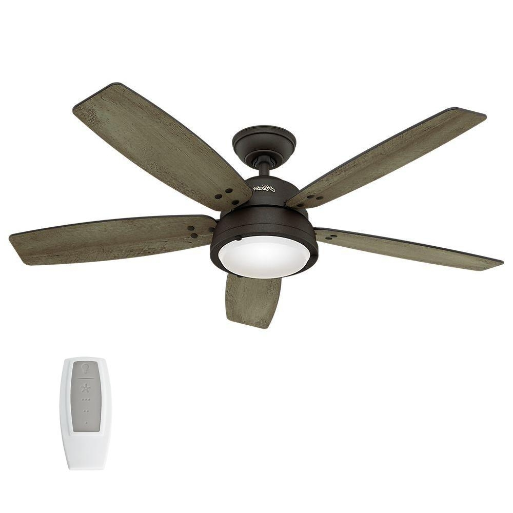 Famous Hunter Channelside 52 In. Led Indoor/outdoor Noble Bronze Ceiling Pertaining To Outdoor Ceiling Fans With Remote And Light (Gallery 2 of 20)