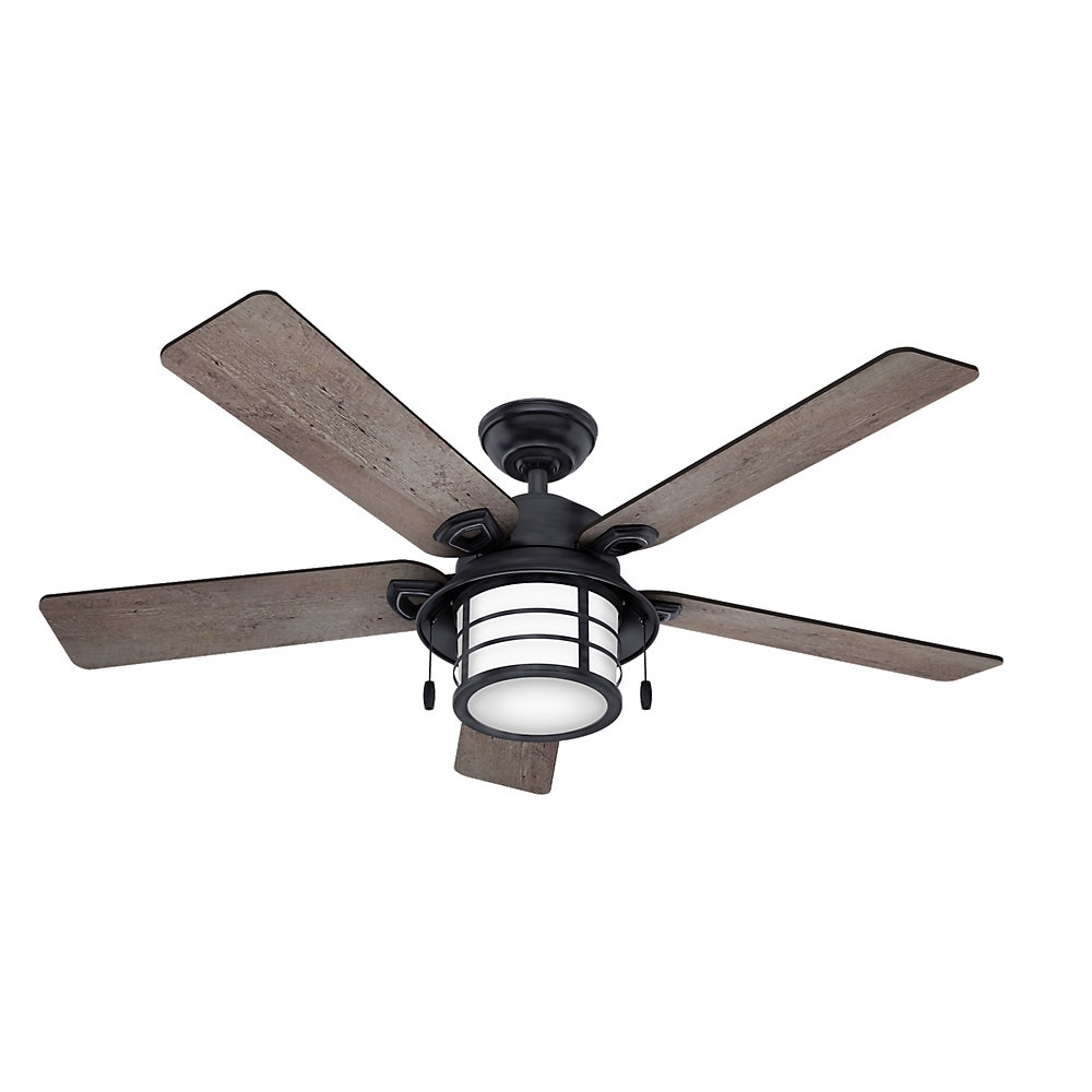 "Famous Hunter Fan 54"" Key Biscayne 5 Blade Outdoor Ceiling Fan & Reviews Within Outdoor Ceiling Fans With Removable Blades (Gallery 3 of 20)"