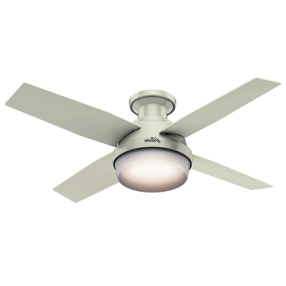 "Famous Hunter Indoor Outdoor Ceiling Fans With Lights Regarding Hunter 59244 Fresh White Dempsey 44"" 4 Blade Led Indoor Ceiling Fan (View 19 of 20)"