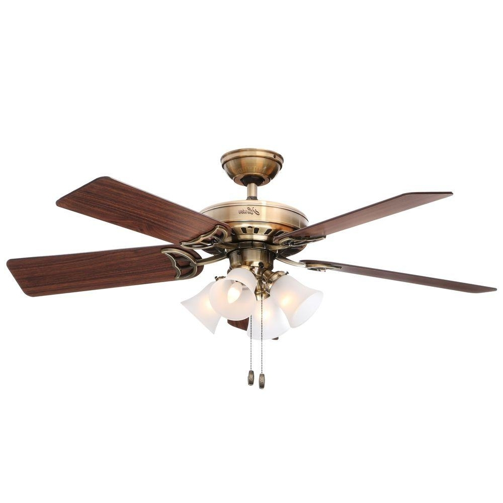 Famous Hunter Studio Series 52 In. Indoor Antique Brass Ceiling Fan With Intended For Outdoor Electric Ceiling Fans (Gallery 12 of 20)