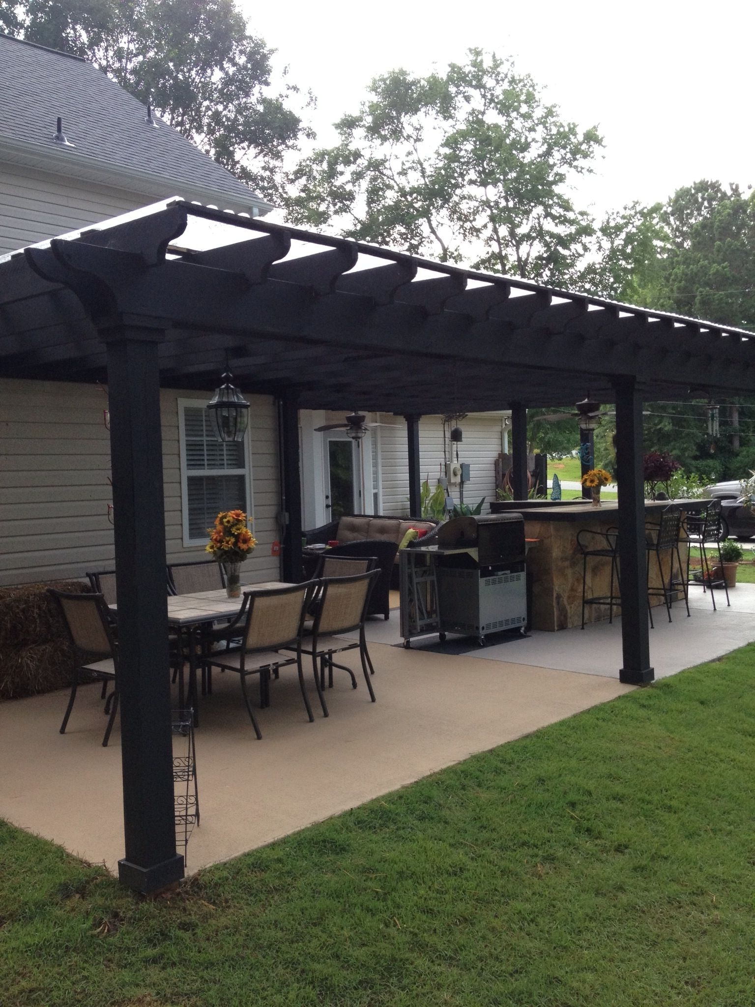 Famous Outdoor Ceiling Fans Under Pergola In I Like This Open Layout. Like The Pergola Over The Table, Grill, And (Gallery 12 of 20)