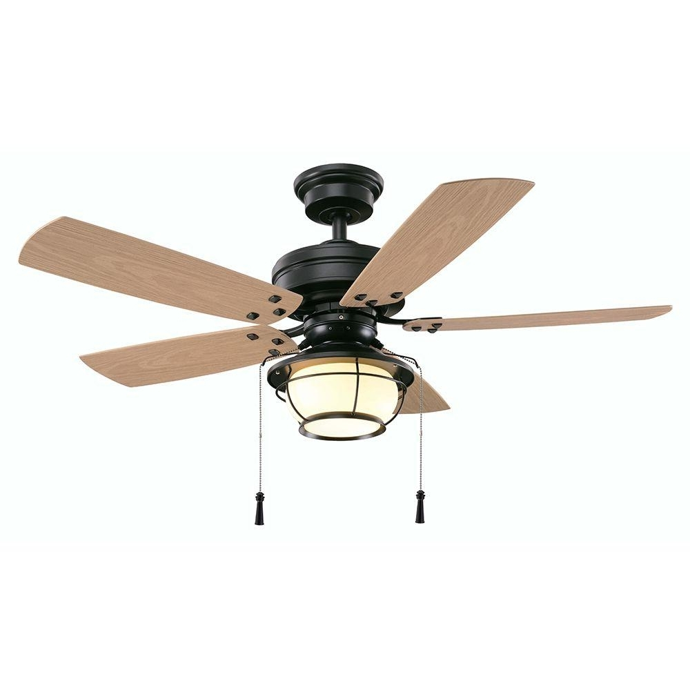 Fashionable Exterior Ceiling Fans With Lights Pertaining To Hampton Bay North Shoreline 46 In. Led Indoor/outdoor Natural Iron (Gallery 13 of 20)