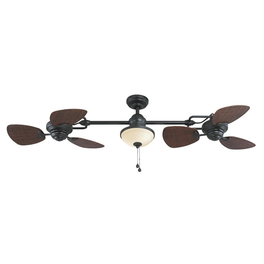 Fashionable Harbor Breeze Twin Breeze Ii 74 In Oil Rubbed Bronze Downrod Mount In Outdoor Ceiling Fans With Long Downrod (View 5 of 20)