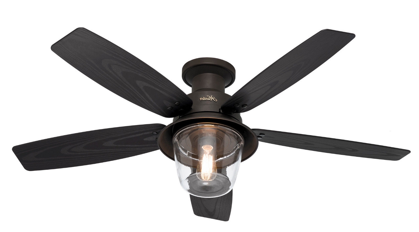 "Fashionable Hunter 52"" Allegheny New Bronze Hugger Outdoor Damp Light Ceiling With Regard To Outdoor Ceiling Fans With Lantern (View 5 of 20)"