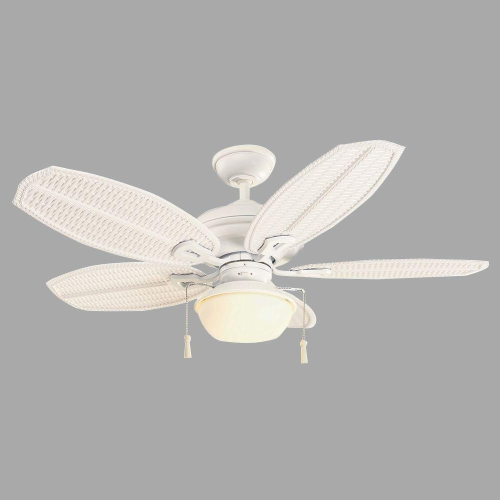 "Fashionable Wicker Outdoor Ceiling Fans With Lights Intended For Hampton Bay Palm Beach Iii 48"" Indoor/outdoor Matte White Ceiling (Gallery 12 of 20)"